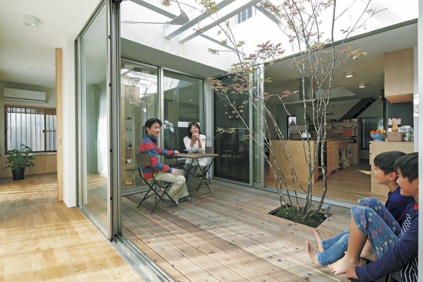 築40年の実家をリノベ。中庭と吹き抜けのハンモックが家族をつなぐ! 画像