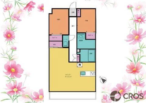 朝日パリオ越谷IIセンターブロック ゆったりとした広さのリビングが魅力の間取り。各居室にも大きめ